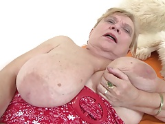Very old granny close to big boobs and flimsy pussy