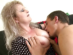 Old mature mom drag inflate with an increment of fuck her young toy boy