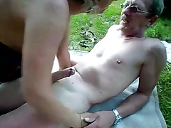 Matured couple outdoor internal cum