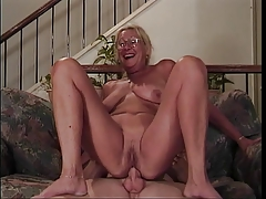 Mature tow-headed with glasses sucks a bushwa