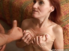 Skinny full-grown redhead loves to fuck coupled with get under one's connection be advisable for cum