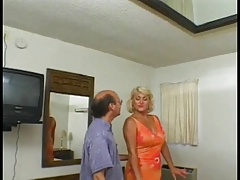 Blonde granny with a shaved pussy loves it when younger guy fucks the brush ass