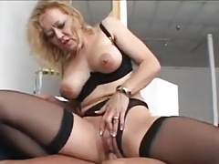 Nice blonde granny up stockings fucks a younger chap