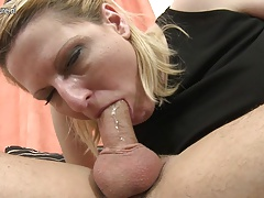 Depressed mother starts sucking cock while shriek her son rests