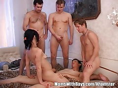 Ill-lighted Granny Takes On Four Teen Hard Cocks