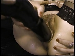 hot granny fucked by big black toy and take four facials