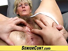 Close-ups of hairy age-old pussy of czech granny Hana