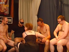Kinky grey German housewife in a crazy gangbang