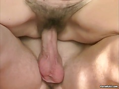 Gradual granny pussy filled with younger dick