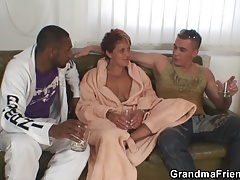 Interracial threesome orgy with granny