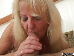 70 era old shrunken granny in stockings riding