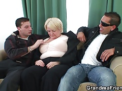 Boozed granma is picked up be proper of old threesome